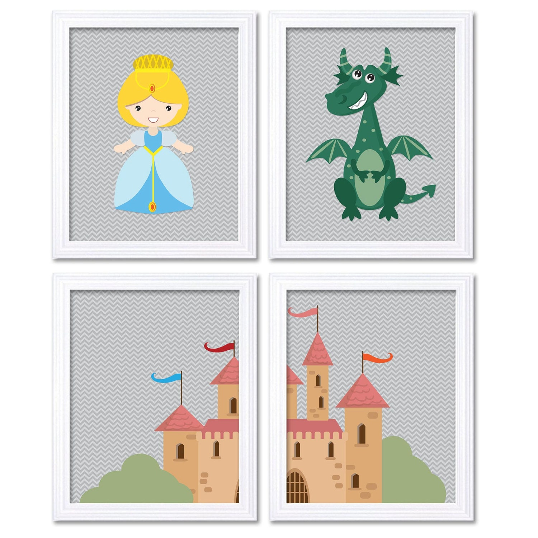 Fairy Tale Nursery Art Child Baby Set of 4 Art Prints Princess Knight Dragon Castle Grey Kids Girl R