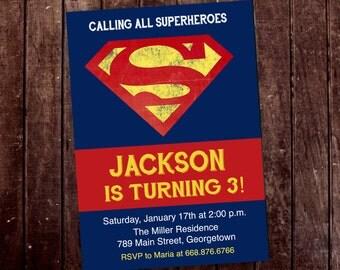 Superman Superhero Birthday Party Invitation - Printable or Printed