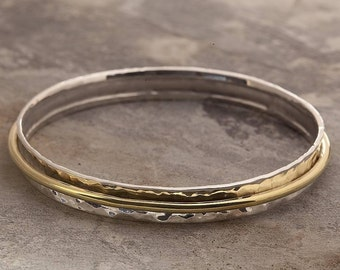 Silver and Gold Bangle, Spinning Bangle, Sterling Silver, Gold Bangle, Movement Bangle, Spin Jewelry, Gold, Bangle, Spin Cuff, Handmade, 925