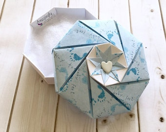 Hand-Folded Origami Blue New Little Baby Boy Footprint Baby Shower Paper Gift Box