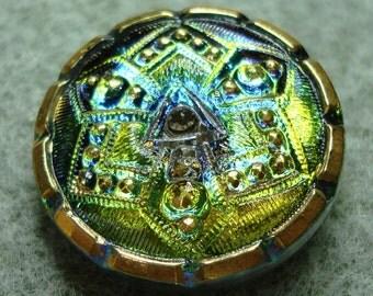 """Czech Glass Button 10""""= 23mm - hand painted - green vitrail, gold (B23212)"""