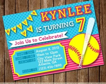 Pink, Neon Yellow & Aqua Softball Girl's Birthday Party Invitation - 4x6 or 5x7 - Digital Download - Printable