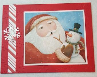 Santa and snowman Handmade Christmas Card