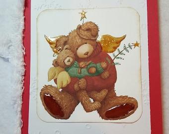 Bear Angel Handmade Christmas Card