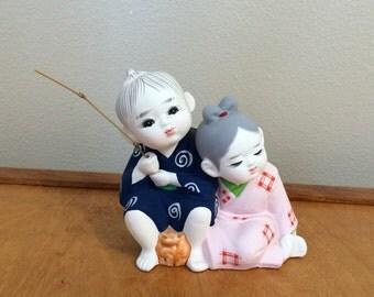 Genuine Hakata Doll Figurine - Japan Ceramic - Fishing Couple