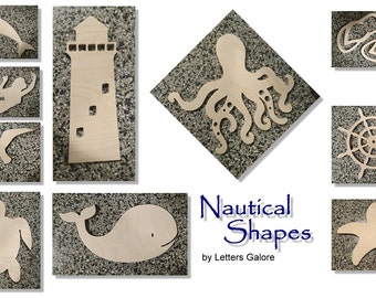 Wooden Shapes - Nautical Shapes - Beach Shapes - Door Wreath Accent - Craft Shapes - Kids Projects - Unpainted Wooden Shapes - Wall Decor