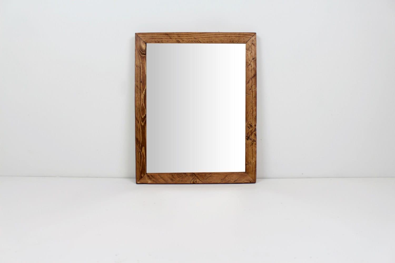 Solid Wood Rustic Modern Redwood Pine Wall Mirror Bathroom