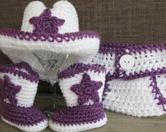 Newborn Baby Crochet Dallas Cowboy/ Cowgirl Costume Hat, Boots & Diaper Cover Photo Prop. 0-3, 3-6m