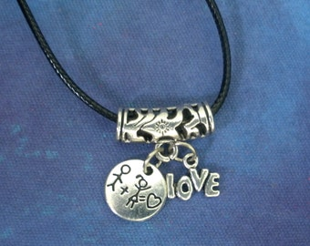 Love Necklace/ Love Stick People Choker/ Love Stick People/ Love Couple Necklace/ Engagement Necklace/ Gift For Her/Wedding Choker/Birthday