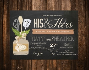 His & Hers Couple's Wedding Shower Invitation; Chalkboard, Mason Jar, Lace, Shabby Chic; Printable or set of 10