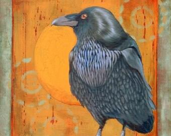 WHEEL OF POWER -  raven, crow, native american, indian, corvid, power