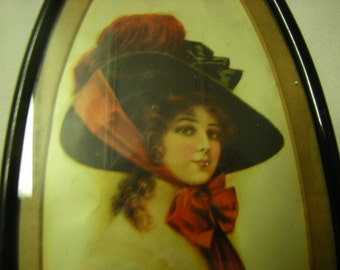 vintage frame-oval frame-woman portrait-V.Knoles Hare-copyright 1909-wall display-wall hanging-cottage chic-