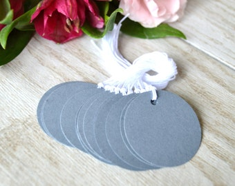 steel grey circle tags with string, grey circle price tags, grey circle gift tags, grey circle favor tags- 15 tags