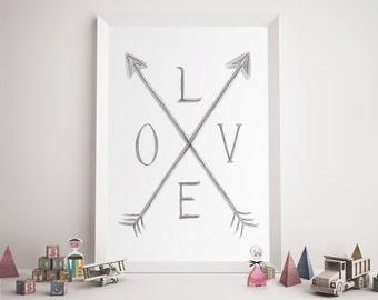 Nursery Art Printable, Love Wall Art, Love Print, Arrows Print, Love Quote, Hand Lettering, Christmas Gifts, Digital Prints, Vintage Print
