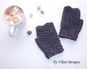 Crochet Fingerless Gloves, Dark Grey Women Gloves by Vikni Designs