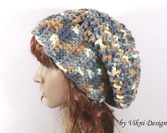 Chunky Womens Slouchy Hat Beanie, Stillness Crochet Hat Beanie by Vikni Designs