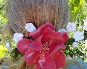 flower hairpin, hair clip flower hair barrette, flower hair accessories, hair flower Romantic,