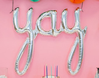 Silver Yay Script Balloon