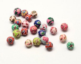 Handmade Polymer Clay Round Beads, with Flower Pattern, Qty 40, Mixed Color, 8x8mm, Hole: 2mm 139