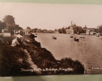 FINAL CLEARANCE SALE - Towing Path and Bridge, Kingston - Black and White - Vintage Condition - Not used - Post Card