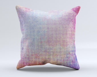 The Messy Water-Color Scratched Surface ink-Fuzed Decorative Throw Pillow