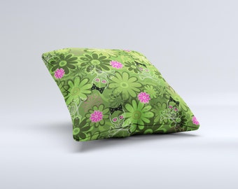 Green Retro Floral and Skulls ink-Fuzed Decorative Throw Pillow