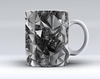 Black 3D Diamond Surface-ink Fuzed Ceramic Coffee Mug or Tea Cup