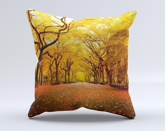 Fall Back Road ink-Fuzed Decorative Throw Pillow