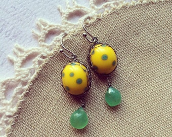 Silver Wire Wrapped Earrings Yellow Earrings Green Earrings Lampwork Jewelry