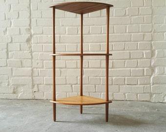 SOLD Teak Veneer Danish Style   Small Corner Shelving 3 Shelve Modular Flower Stand