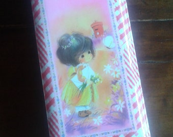 Vintage japan pencil case, showa, cute big eye girl, kutsuwa