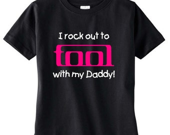 pink black i rock out to  tool band baby toddler kids tee t shirt  childrens concert tee clothes youth
