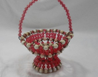 Miniature Vintage Beaded Safety Pin Basket-Tramp Art-Folk Art-Pink and White-Collectible