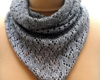 Silver Shimmery Neckwarmer - Grey Pull On Lace Bandana Cowl Neck Warmer For Women, Hand Knit.