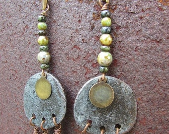 ON SALE Bohemian metal earrings with a round metal piece weathered and aged, verdigris, cashmere, earthly green czech beads, gypsy, boho, hi