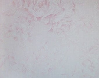 Emma's Garden~Light Pink Tonal Roses~Shabby Chic Floral~Cotton Fabric, Quilt~Clothworks~Fast Shipping SB314