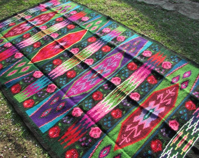 Bessarabian Kilim. Vintage Moldovan Kilim, Handmade. Vintage rose kilim. Vintage handwoven wool rug carpet Bessarabian Romania Kilim