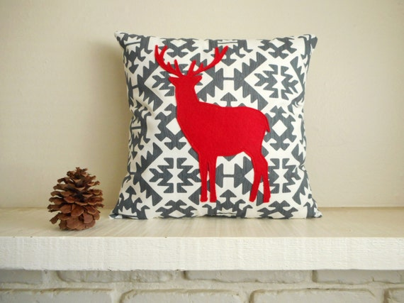 Deer Pillow / Red reindeer pillow / Woodland Decor / Deer Silhouette / Decorative Pillow / Woodland Animal / Cabin Decor /