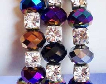 Dazzling Faceted 'CARNIVAL GLASS' Coil BRACELET