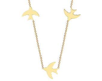 Three Swallows 14k Solid Gold Necklace Dainty Bird necklace / Delicate Gold Jewellery