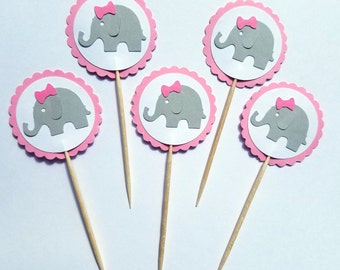 24 Elephant Cupcake Toppers, Pink and Gray, Girl Baby Shower, Gender Reveal, First Birthday, Food Picks, Ships in 3-5 Business Days