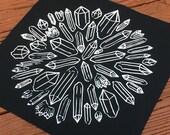 White on black poly cotton blend crystal mandala back patch large