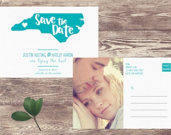 State Save The Date Postcard, Postcard Save the Date, Photograph Save the Date, Custom Personalized, Engagement Announcement Card
