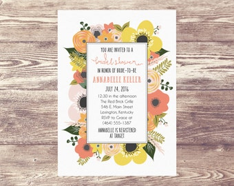 Printed Bridal Shower Invitation, Floral Rehearsal Dinner Invitation, Engagement Party Invite, Wedding Brunch, Baby Shower Invitation