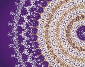 Square Poster Print Purple Wall Art Gypsy Mandala Wall Art Yellow White Decor Modern Bedroom Decor