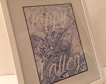 Happy Valley State College Penn State Vintage Map & Motto 8x10 Print