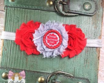 Little Buckeyes Fan Headband~ ohio state buckeyes headband, buckeyes baby headband, ohio state baby headband