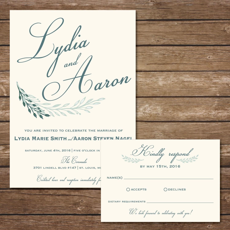 Printable laurel wedding invitation with rsvp card digital for Digital wedding invitations with rsvp
