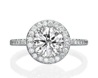 Moissanite Engagement Ring Forever One, Solid White Gold Ring, Diamond Halo Engagement Ring, Vintage Ring, Art Deco Engagement Ring