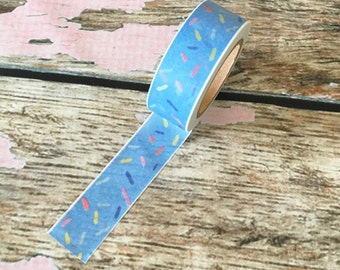 Blue with Rainbow Sprinkles Washi Tape 15mm